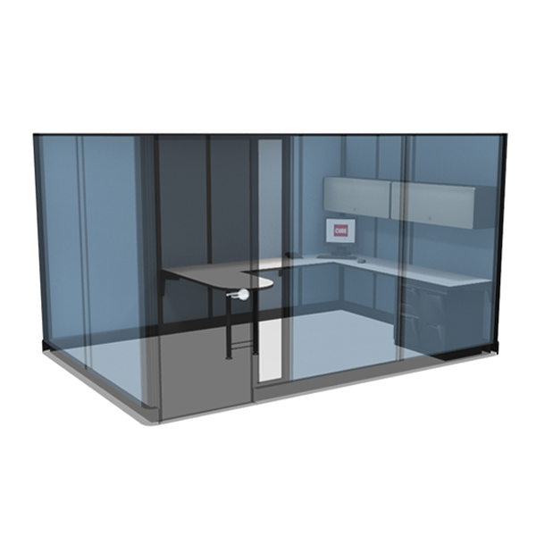 "8' x 12' x 85"" Private Office Cubicle with Door"