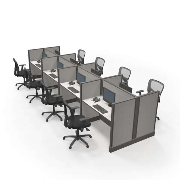 2x4 Pod of 8 Office Cubicles