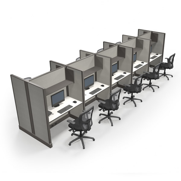 10 Tall Call Center Office Cubicles