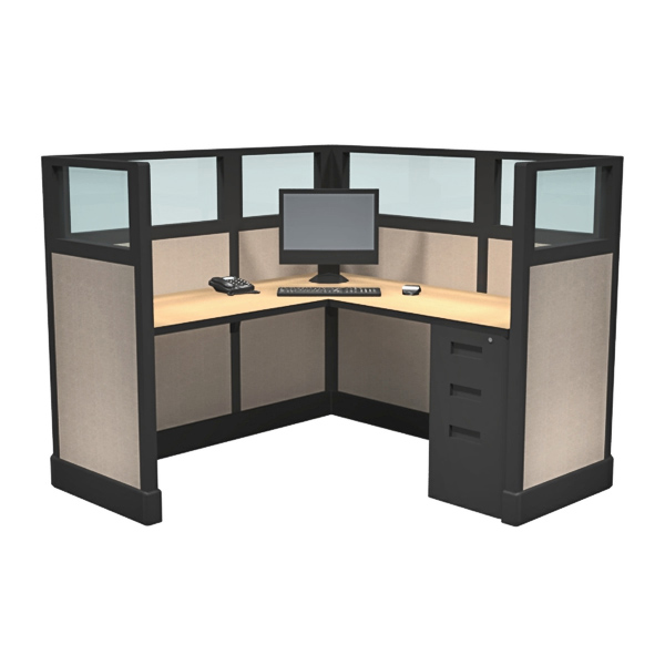 "53"" Quarter Glass 5' x 5' Office Cubicles"