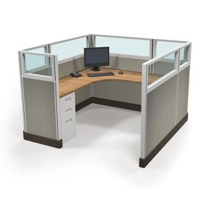 """53"""" tall 6'x6' Office Cubicle with Quarter-Glass panels"""