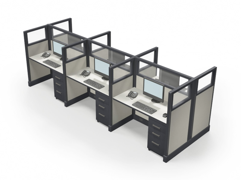 "53"" Quarter-Glass 2'x 4' Office Cubicles"