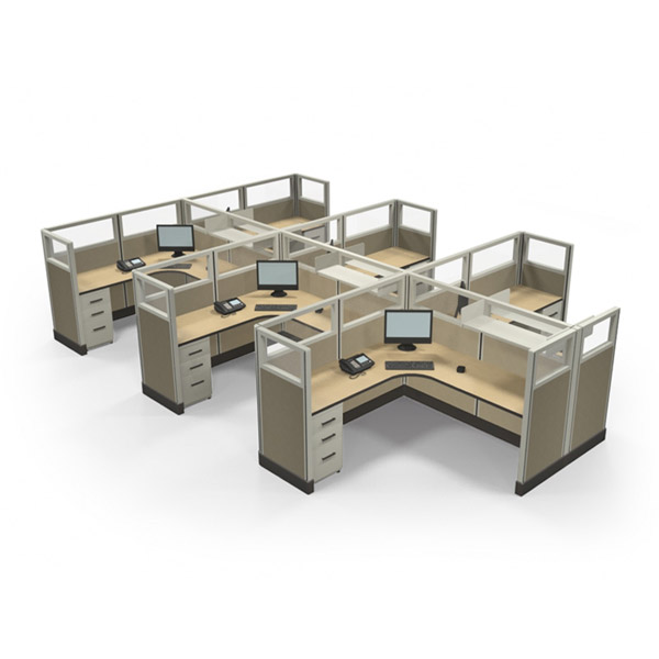 "53"" Quarter-Glass 6'x 6' Office Cubicles"