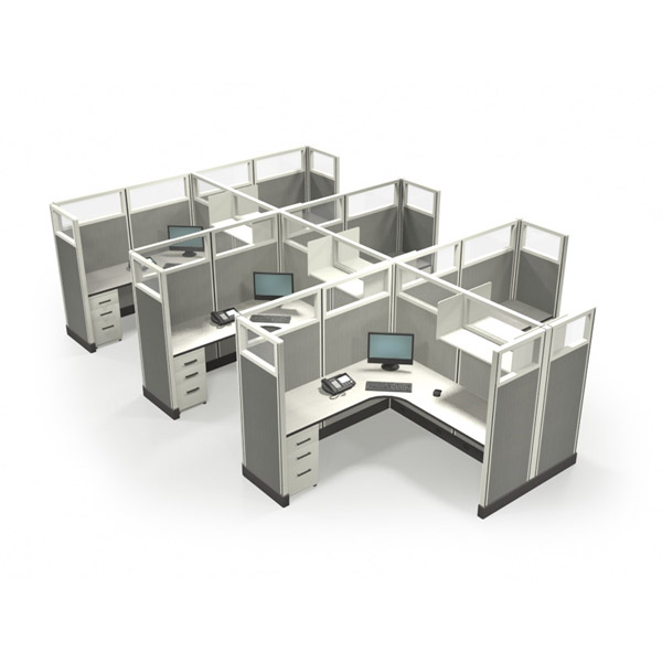 "67"" Quarter-Glass 6'x 6' Office Cubicles"