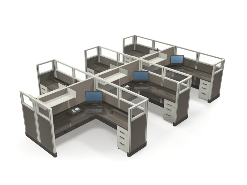 """Value 53"""" 6'x6' Quarter-Glass Special Offer Office Cubicle 1"""