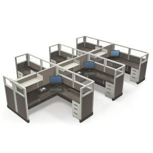"""Value 53"""" 6'x6' Quarter-Glass Special Offer Office Cubicle"""