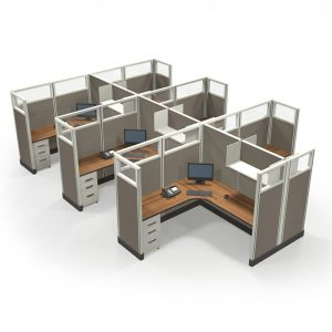 """Value 67"""" 6'x6' Quarter-Glass Special Offer Office Cubicle"""