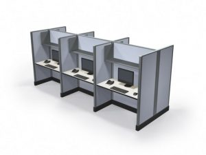 """Max-Value 67"""" 2' x 4' Call Center Cubicles - Pod of 6"""