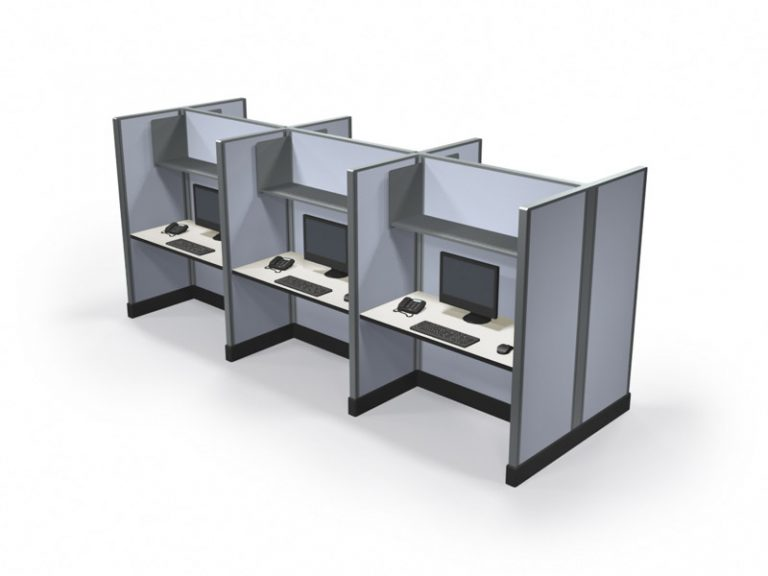 Tall Call center cubicles 67x2x4 in a pod of 6 in Los Angeles