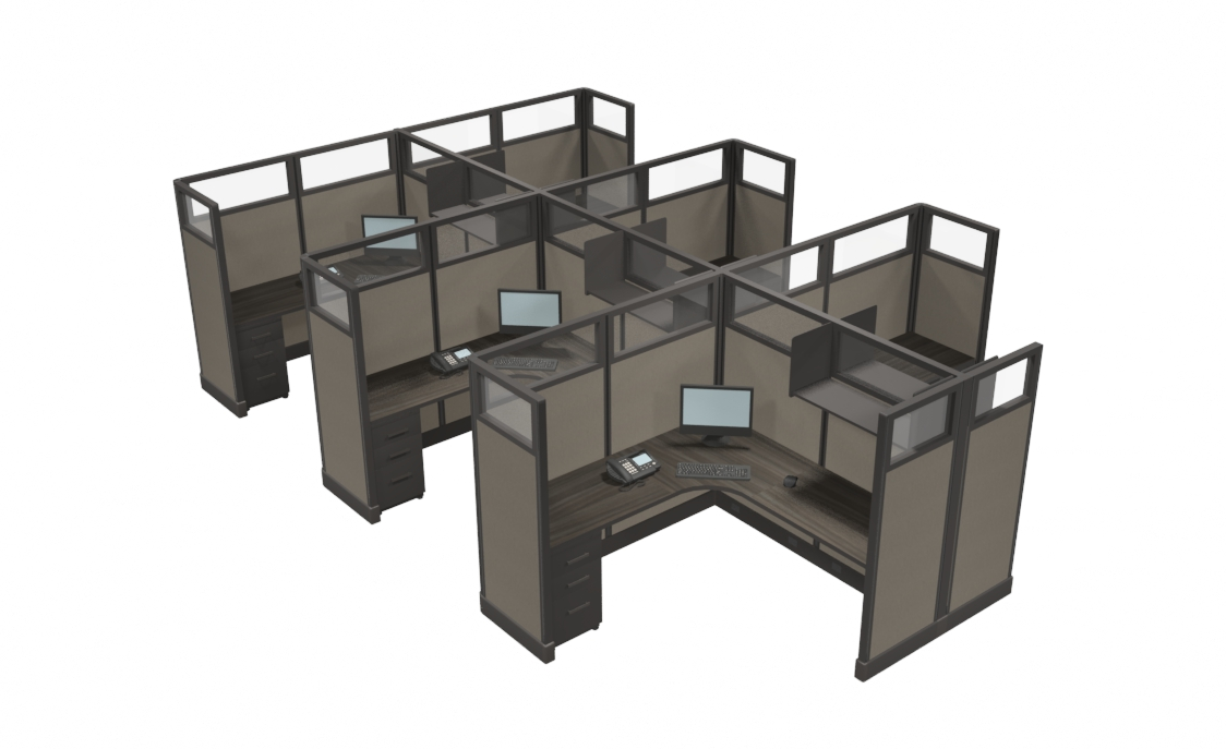 """Office Cubicles Kansas City 67""""x6'x6' with glass stackers"""