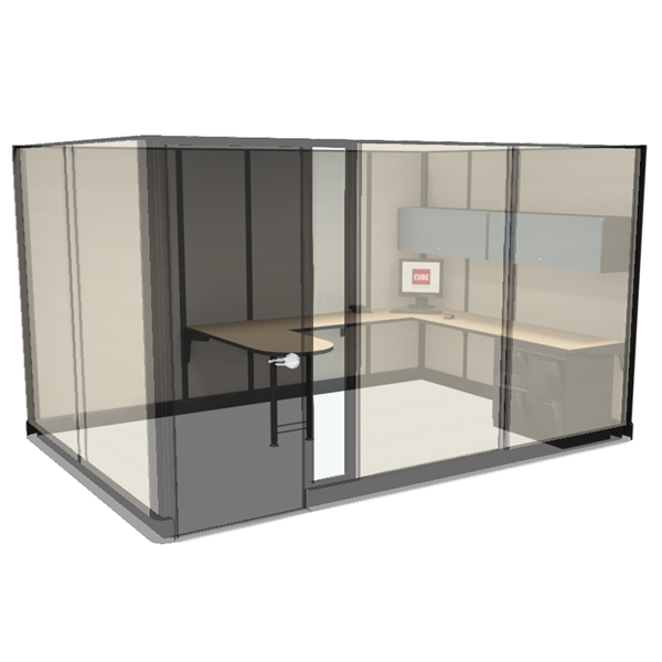 "Miami Private Office Cubicles 85""x8'x12' With a Door"