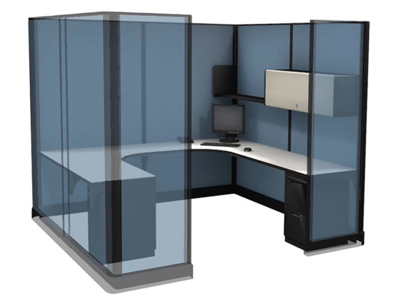 "Socially Distance with 85"" high wall office cubicles in San Francisco."